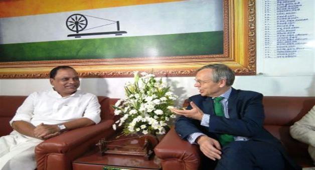Khabar Odisha:Norway-Ambassador-meets-PCC-President-Prasad-Harichandan-at-Congress-Bhawan
