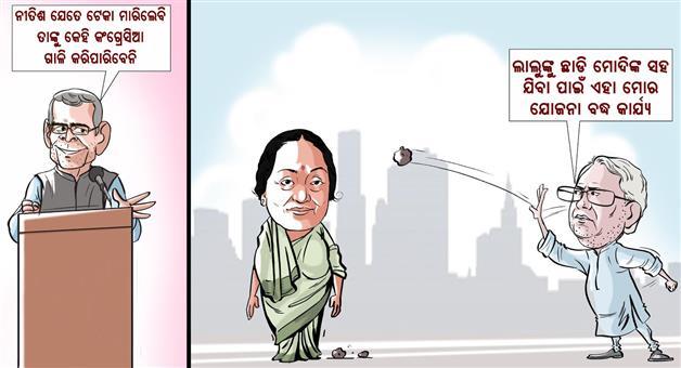 Khabar Odisha:Nitish-Lalu-Prasad-Rahul-Gandhi-Cartoon