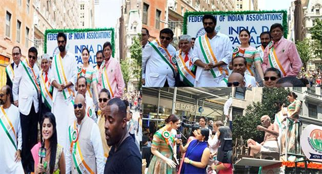 Khabar Odisha:Tammana-and-Rana-Duggubati-participated-in-India-Day-parade-in-New-York