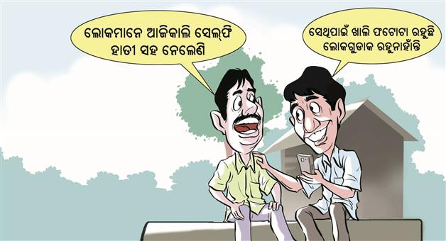 Khabar Odisha:cartoon-about-selfie-with-Elephant