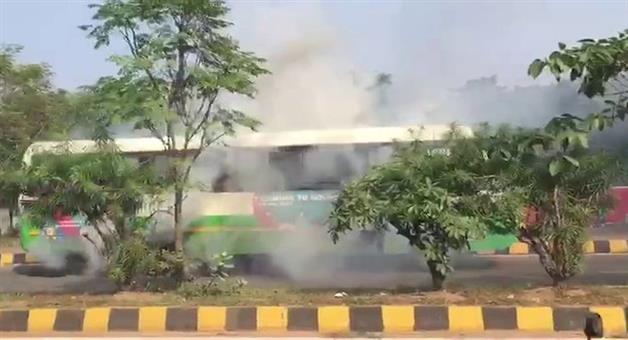 Khabar Odisha:touch-fire-in-City-bus-bhubaneswar