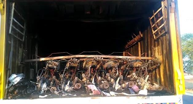 Khabar Odisha:50-new-bikes-burnt-in-Kalahandi
