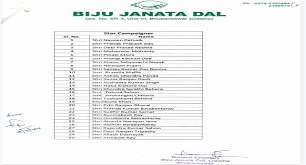 Khabar Odisha:BJD-declire-its-30-no-of-star-campainer-for-pipili-election
