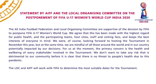 Khabar Odisha:FIFA-Postpones-U-17-Womens-World-Cup-In-India-Due-To-COVID-19