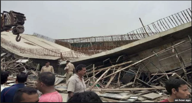 Khabar Odisha:Flyover-Deck-Slab-Dropped-In-Basti-Four-Laborers-Injured-Rescue-Work-Continue