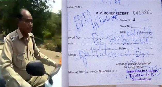 Khabar Odisha:POlice-give-Fine-After-Video-Goes-Viral-Sambalpur