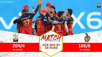 Khabar Odisha:Royal-Challengers-Bangalore-returned-to-the-top-spot-on-the-points-table-with-a-38-run-win-over-Kolkata-Knight-Riders