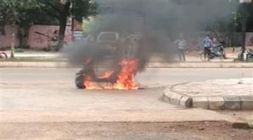 Khabar Odisha:Scooty-burns-in-front-of-Ramadevi-Womens-University