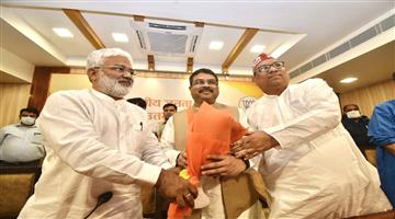 Khabar Odisha:The-announcement-was-made-in-the-presence-of-Dharmendra-Pradhan-the-BJPs-ally-with-the-Nishad-party-in-the-Uttar-Pradesh-elections