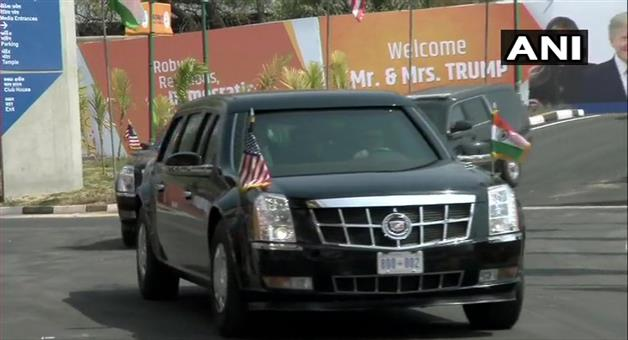 Khabar Odisha:US-President-Donald-Trump-and-the-First-Lady-Melania-Trump-arrive-at-Motera-Stadium