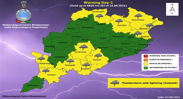 Khabar Odisha:Yellow-warnings-are-issued-in-12-districts-of-the-state-for-the-next-24-hours-with-thunderstorms-and-light-showers