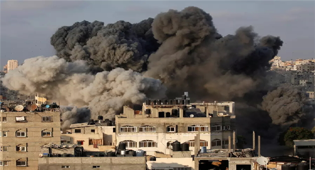 Khabar Odisha:building-of-channel-owned-by-hamas-destroyed-in-israeli-air-strike