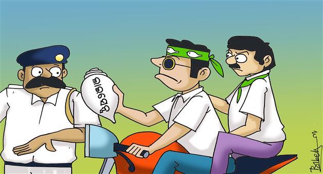 Khabar Odisha:cartoon-odisha-bjd-leaders-break-traffic-rule