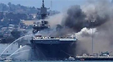 Khabar Odisha:fire-breaks-out-on-us-navy-ship-in-san-diego-21-injured-including-17-soldier