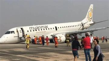 Khabar Odisha:international-odisha-watch-myanmar-pilot-lands-plane-on-its-nose-after-landing-gear-failure