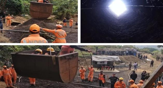 Khabar Odisha:miners-trapped-in-a-mine-at-ksan-in-east-jaintia-hills-in-meghalaya