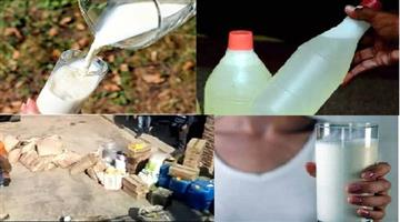 Khabar Odisha:police-raids-dairy-in-bhind-synthetic-milk-was-been-made-with-shampoo