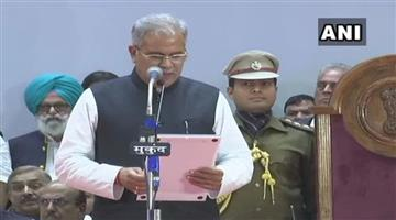 Khabar Odisha:raipur-bhupesh-baghel-takes-oath-as-the-next-chief-minister-of-chhattisgarh