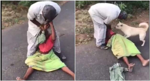 Khabar Odisha:son-was-beating-his-mother-and-dog-was-trying-to-save-her
