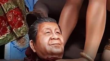 Khabar Odisha:west-bengal-murshidabad-xi-jinping-represented-as-demon-durga-puja-pandal
